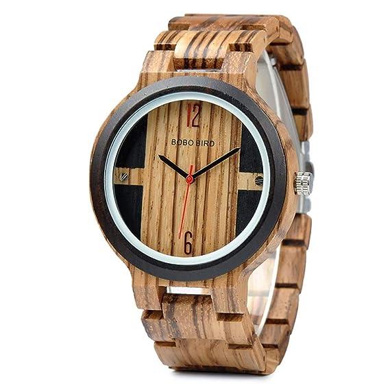 HWCOO Hermosos Relojes De Madera Bobo Bird All-Wood Reloj de Cuarzo Resistente al Agua Reloj de Madera Reloj de los Hombres (Color : 2): Amazon.es: Relojes