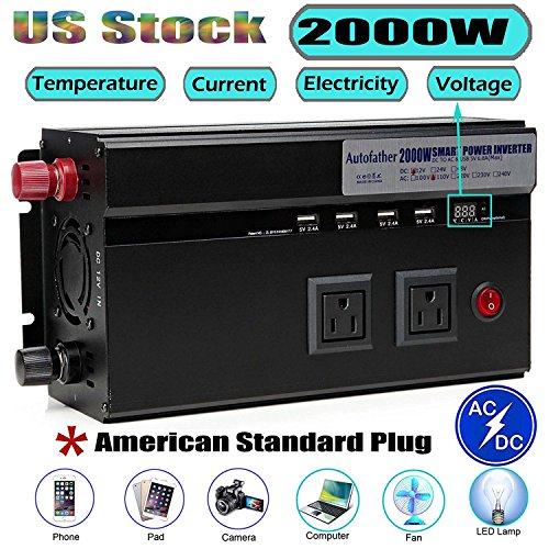 2000W Car Power Inverter DC 12V to AC 110V Modified Sine Wave Converter USB Ports Adapters