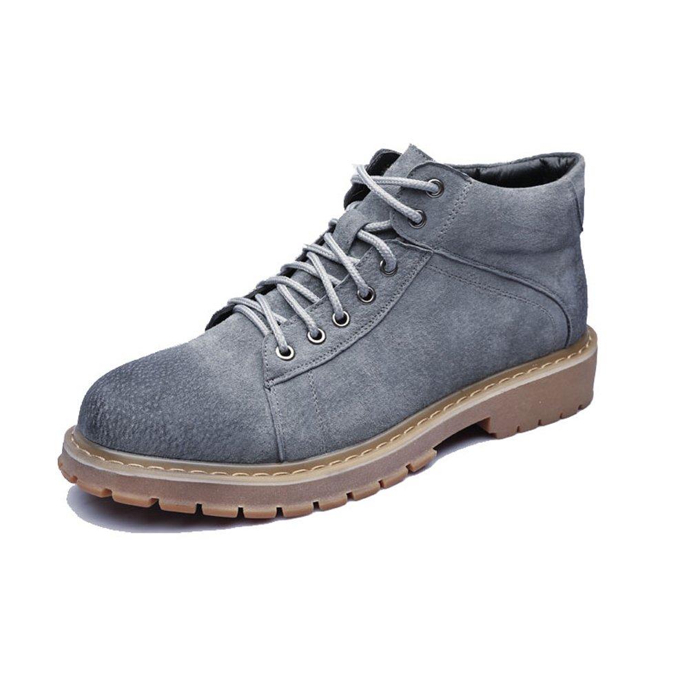 Zapatos de Hombre con Cordones de Cuero Genuino Botines Martin Tobilleros con tacón Alto para Caballeros 7.5 UK|Gris