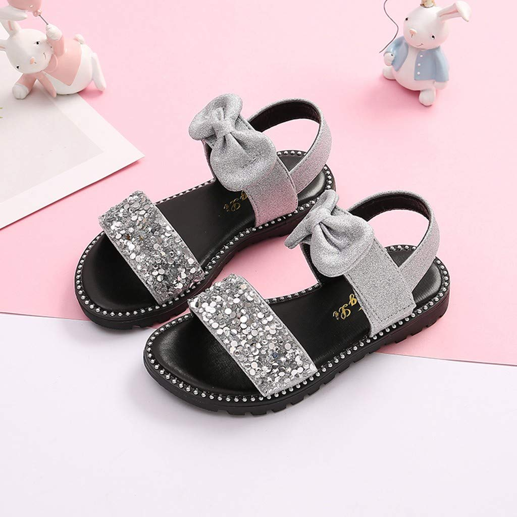 Moonker Teen Girls Summer Sandals Princess Shoes for 4-14 Years Old Kids Children Bowknot Bling Sequins Beach Sandals
