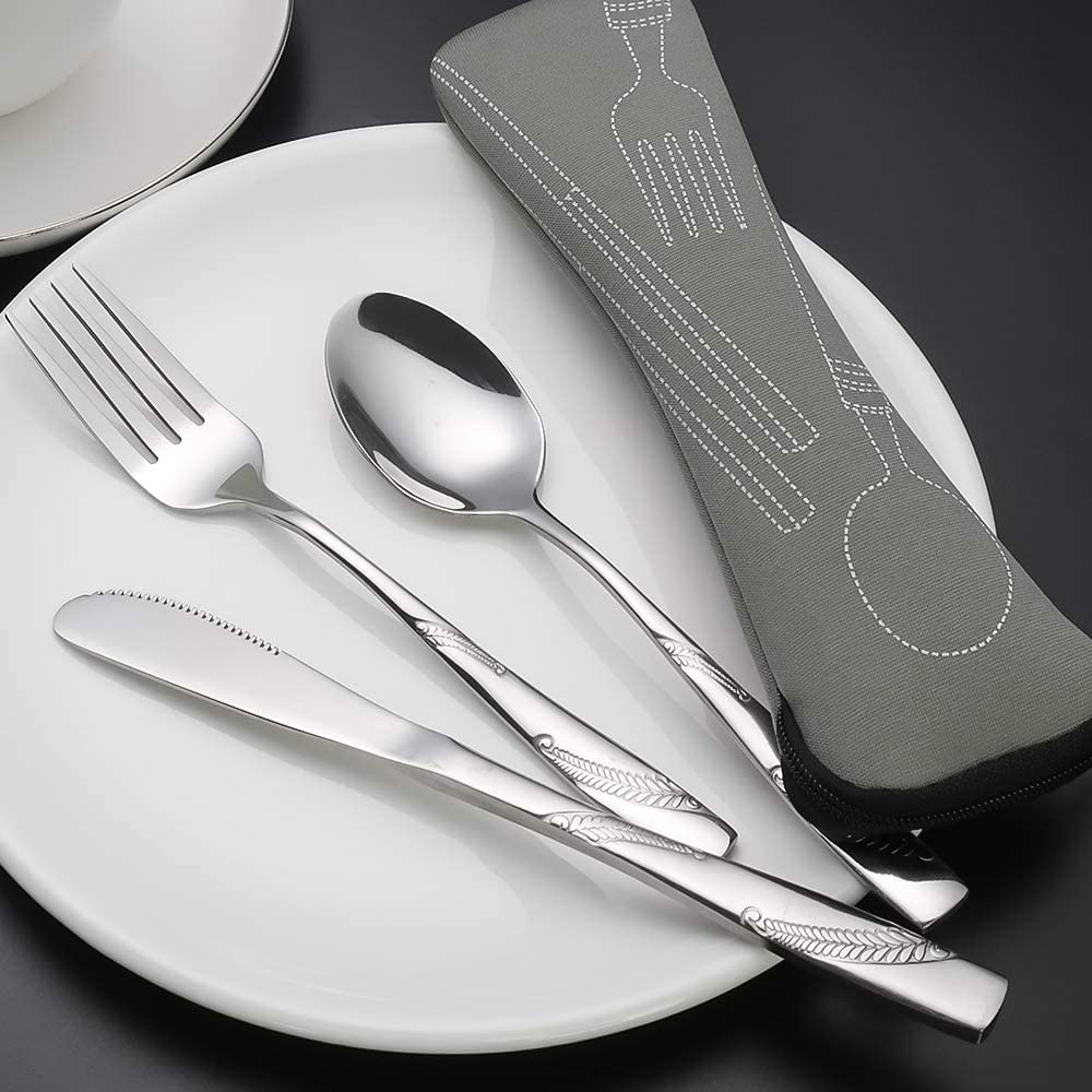 Traveling Cutlery Set with Case Bringer 3-Piece Stainless Steel Camping Cutlery