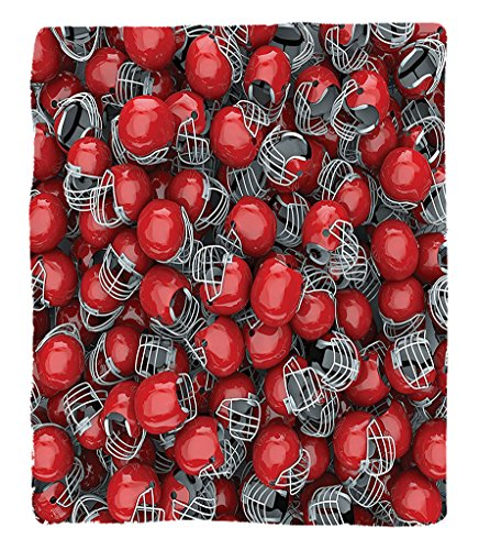 Chaoran 1 Fleece Blanket on Amazon Super Silky Soft All Season Super Plush Sports Decor Collection College Football Helmets Headgear Competition Defenseportsman Image Pattern Fabric Extra Red Dimgray by chaoran (Image #6)