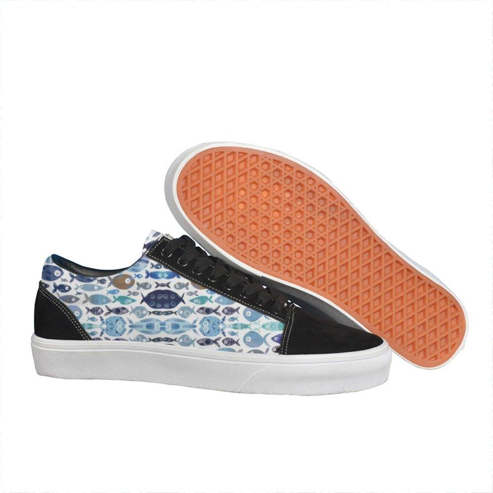 Armsttm Womens Blue Watercolour Fish Classic Suede Skate Shoes Sneaker