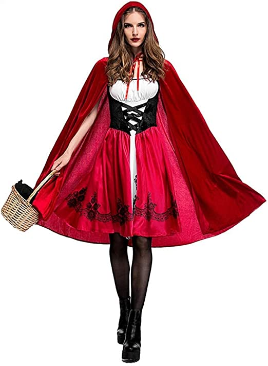 Gshy Disfraz de Caperucita Roja Mujer Traje Medieval Capa con ...