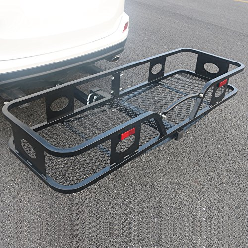 Rectangle Folding Hitch Mount Cargo Carrier Luggage Moto Hanging Basket Truck SUV Mounted Storage Rack Hauler for Travel Camping, Heavy Duty Steel for 2
