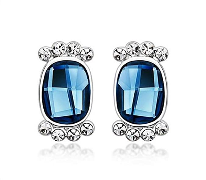 NEVI Oval Fashion Crystals From Swarovski Brass Rhodium Plated Stud Earrings Jewellery for Women And Girls (Blue & Silver) Earrings at amazon