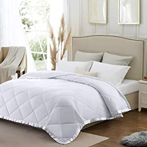 SunStyle Home Queen Size Bedspread Quilt, Coverlet Lightweight Comforter Down Alternative Blanket with Satin Trim, Cozy Soft Thin Quilted Blanket for All Seasons (90