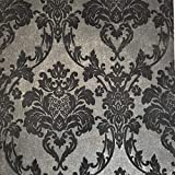 Portofino Italian flocking wallcoverings modern Non-Woven flock Wallpaper Double rolls charcoal black rust gold metallic victorian vintage damask flocked velour velvet coverings paste the wall only 3D