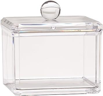 Hqdeal Acrylique Boite A Coton Demaquillant Distributeur De Coton Boite De Rangement Pour Cosmetiques Support Etagere Simple Amazon Fr Informatique