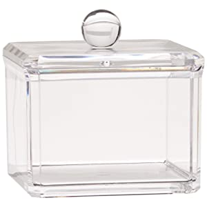 Square Acrylic Cotton Ball Cotton Pad Holder, Single Tier