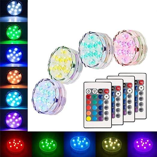 Piscina Sumergible Luces Led, 4 Pack 10 LED Control Remoto por Infrarrojos RGB Mood Light Batería a Prueba de Agua Iluminación Nocturna Estanque Fuente Acuario: Amazon.es: Iluminación