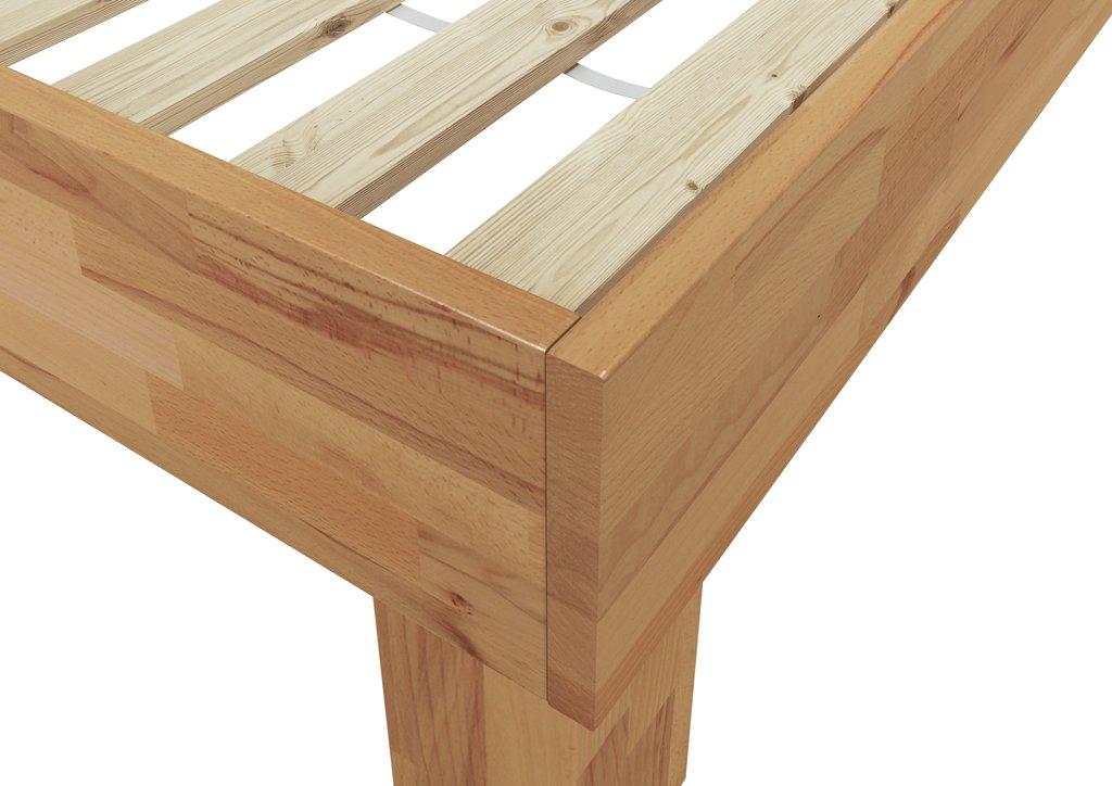 Erst-Holz/® Doppelbett Buche 140x200 Hohes Massivholzbett Seniorenbett 60.81-14 or