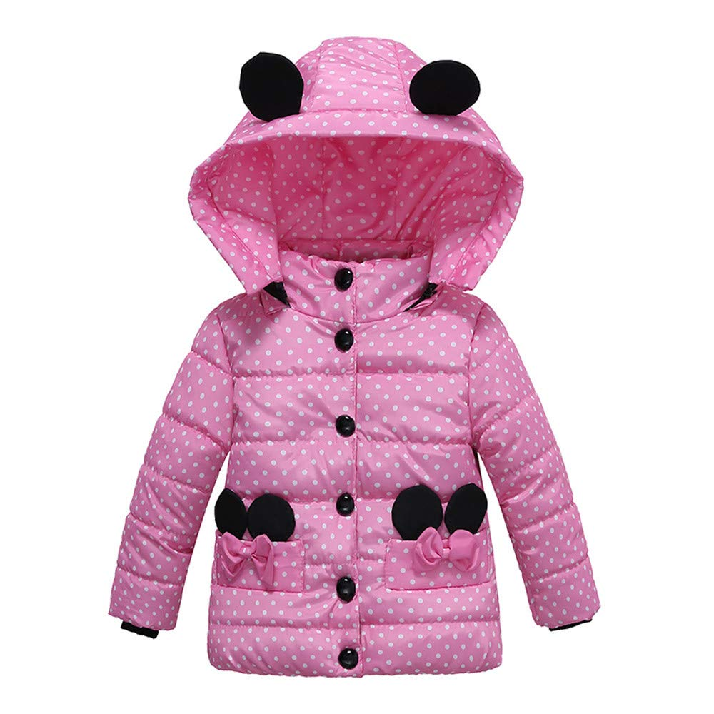 Toddler Baby Girls Winter Coat Vovotrade Newborn Cute Bowknot Hooded Coat Long Sleeve Dot Print Jacket Thick Warm Coat Tunic Blouse Age for 2-4 Years Old