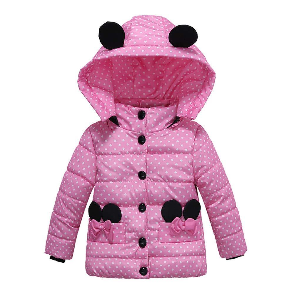 Winter Cute Baby Girls Hooded Down Coat Dot Bow Pocket Puffer Bubble Jacket