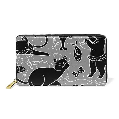 dc48a6237c24 OREZI Women's Fashion Wallets Purse, Black Cat And Fish Zipper ...
