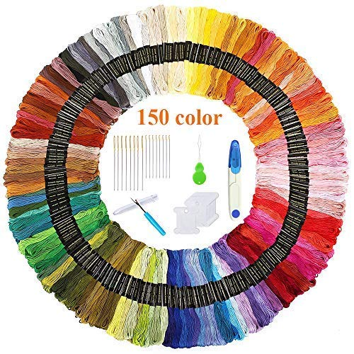 Volsteel Embroidery Floss 150 Skeins Premium Multi-Color Craft Floss for Friendship Bracelets, Cross Stitch Floss Sewing Threads with Free Embroidery Tool by Volsteel