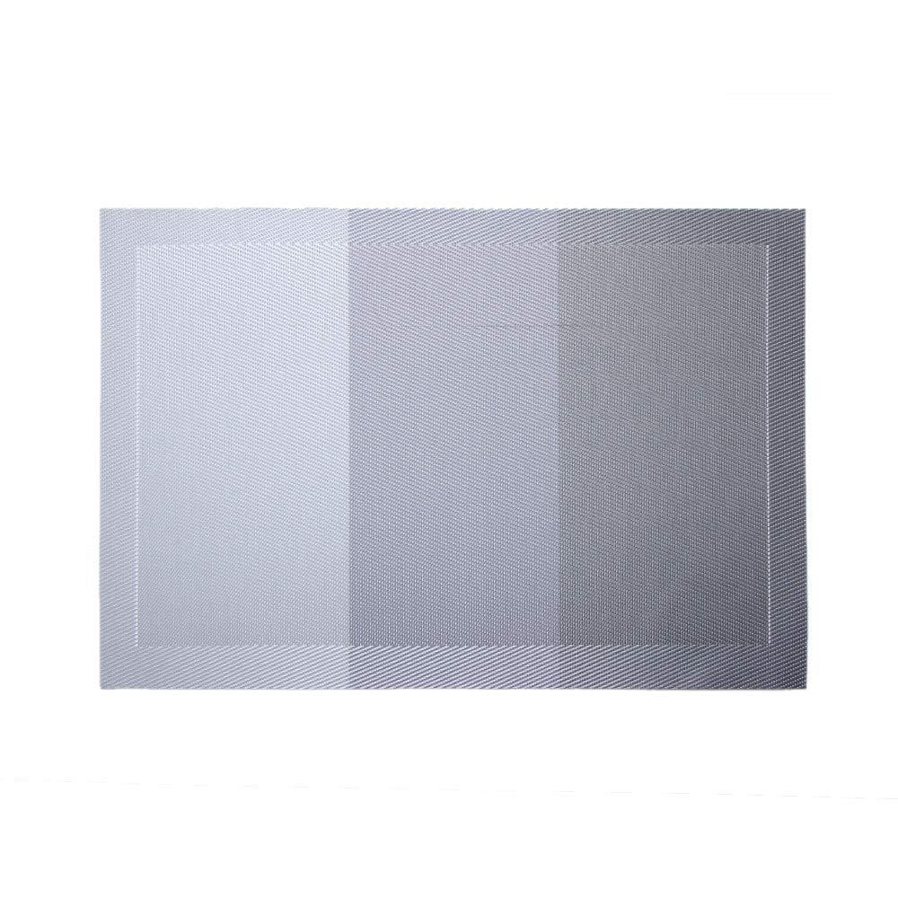 LiPing 18×12''Gradient Placemat Woven Non-slip PVC Non Slip Absorbent Eco-Friendly Protects Furniture from Water Stains & Damages Thermal Insulation (Gray)