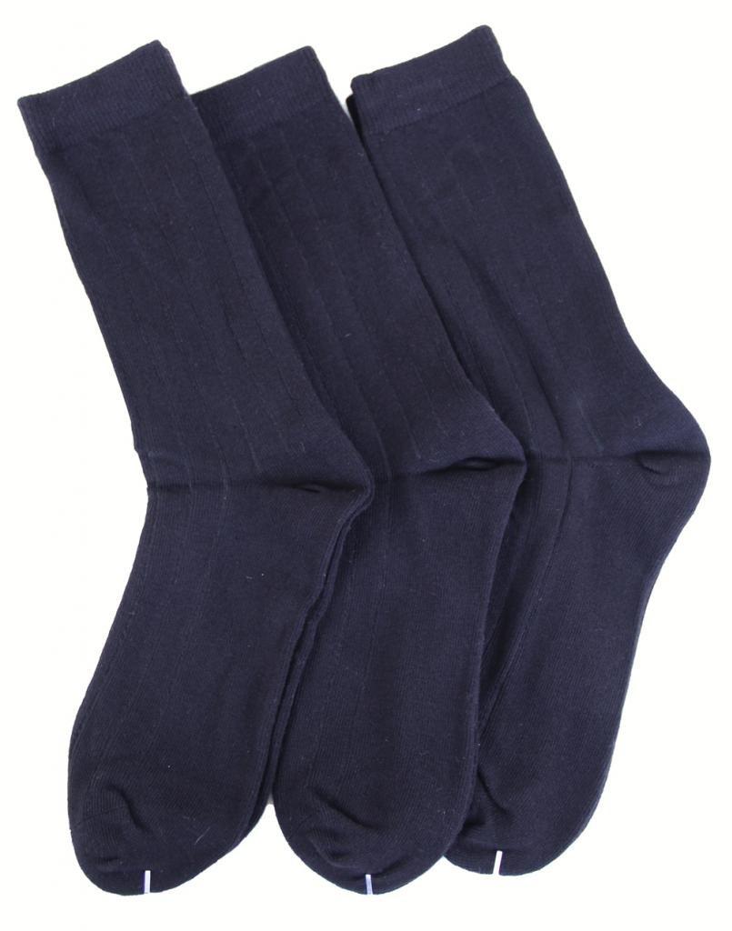 Ambra Memoi 3 Pair Pack Boys Crew Socks School Uniform Socks Cotton Blend, Navy (7-8 1/2 (Shoe Size 9-2 1/2)) 10950
