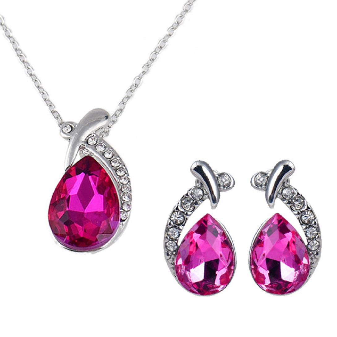 Hemlock Lady Earrings, Women Crystal Pendant Necklaces Jewelry Earrings Lovers Chain Necklaces (Hot pink)
