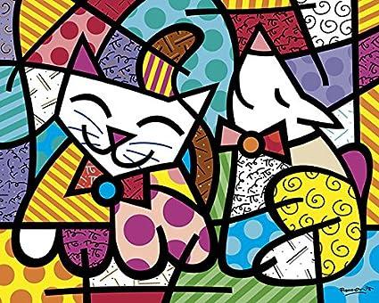 amazon com happy cat and snob dog by romero britto animal dogs