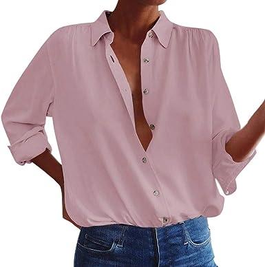 AIFGR Tops para Mujer Damas Blusa de Manga Larga Solapas Botones Camisa sólido Camisas Sueltas Tops(Rosado, L): Amazon.es: Ropa y accesorios