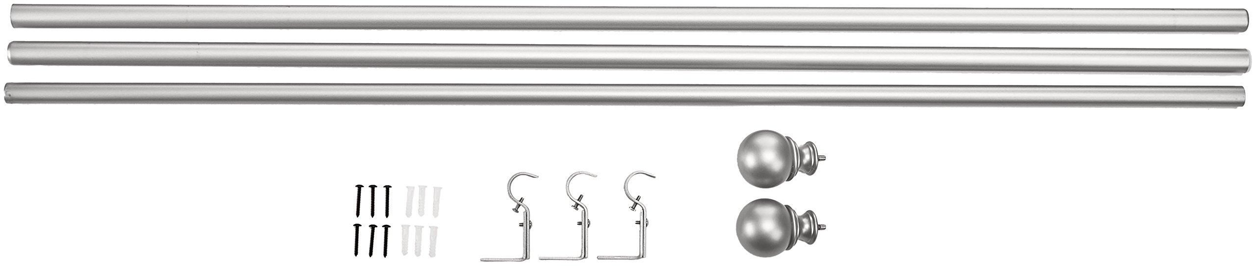 AmazonBasics 1'' Curtain Rod with Round Finials, 72'' to 144'', Nickel by AmazonBasics (Image #6)