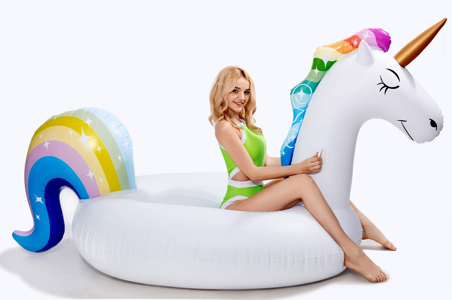 dreambuilderToy Giant Inflatable Unicorn Pool Float, 9 Feet Long , Unicorn Pool Float Floatie Ride On Large raft Summer Beach Pool Party Lounge for Kids and Adults (Unicorn Float) by dreambuilderToy