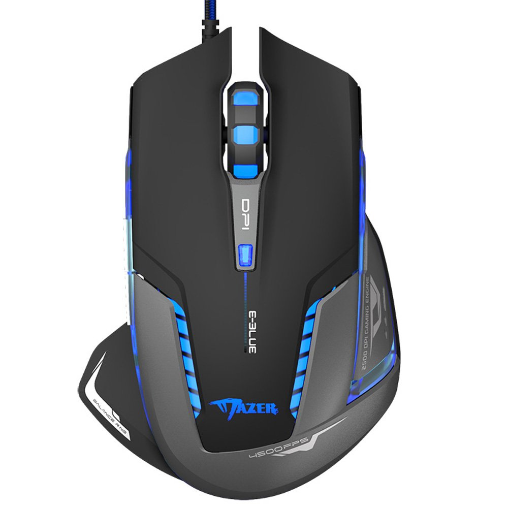 Caps Plus EMS600BKAA-NU E-3Lue E-Blue Mazer II EMS600 2500 DPI Blue LED Trendy Optical USB Wired Gaming Mouse