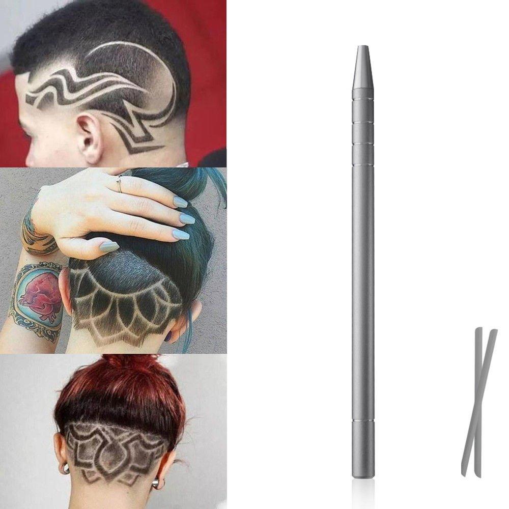 Dr Nezix Hair Tattoo Pen Magic Engraved Sharp Pen Blades Trimming Tool Beard Shaver Tweezers DIY Hair Styling Tools, Blue Hairpen-blue