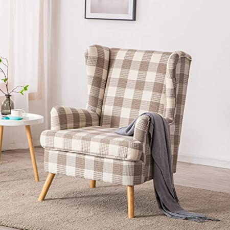 Warmiehomy Armchair Tartan Linen Fabric Wing Back Occasional Fireside Chair for Living Room Bedroom Office Lounge Reception