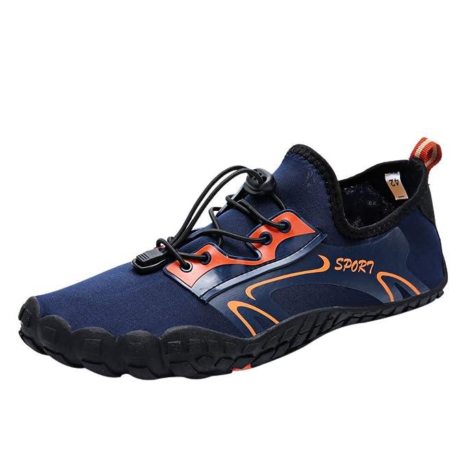 Mymyguoe Zapatillas de Agua de Secado rápido Unisex Zapatos de cordón para Nadar en la Playa