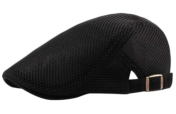 345e70d643a7d AIEOE Mens Flat Gatsby Cap Breathable Mesh Summer Beret Ivy Hat Newsboy  Driving Hunting Cap Black
