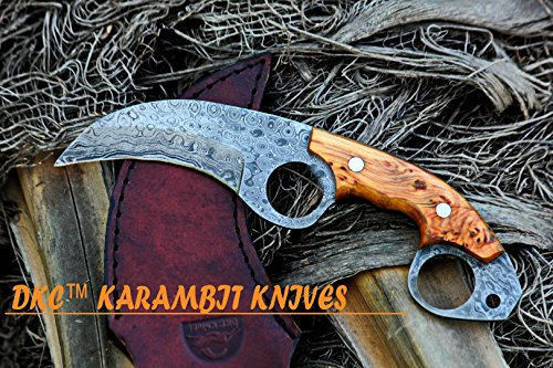 DKC-87-DS OWL FOX DAMASCUS Steel Skinner Hunting Knife 8Long 6.2oz High Class Looks Incredible Feels Great In Your Hand And Pocket Hand Made DKC Kniv…