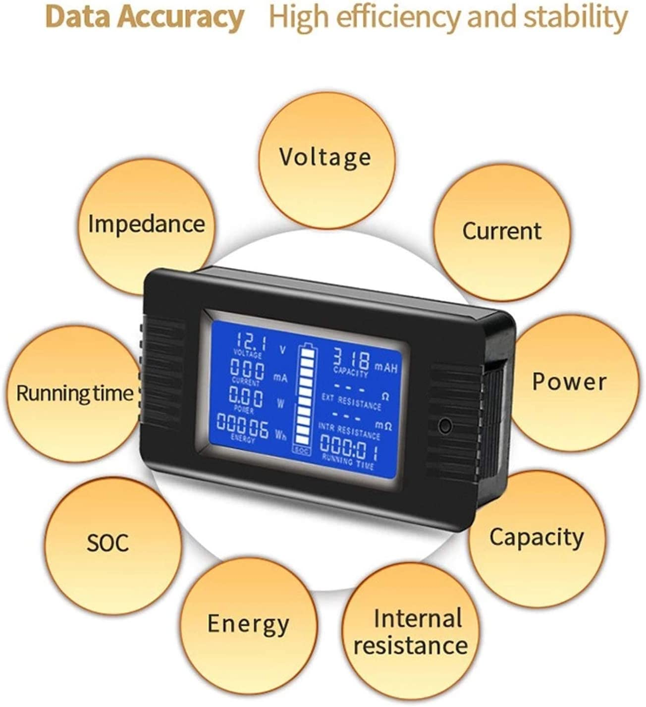 Wildly Applied to Solar System//Industrial Assembly Line//Au 0-200V 0-300A Voltage Current Power Energy Impedance Resistance Capacity Multimeter Ammeter Voltmeter Digital Tester with 300A Shunt AUTENS DC Multifunction Battery Monitor Meter with LCD Display