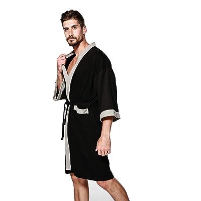 BESIDE STAR Mens Bathrobe Lightweight Soft Knee Length Women Sleepwear with Pockets Unisex Robes