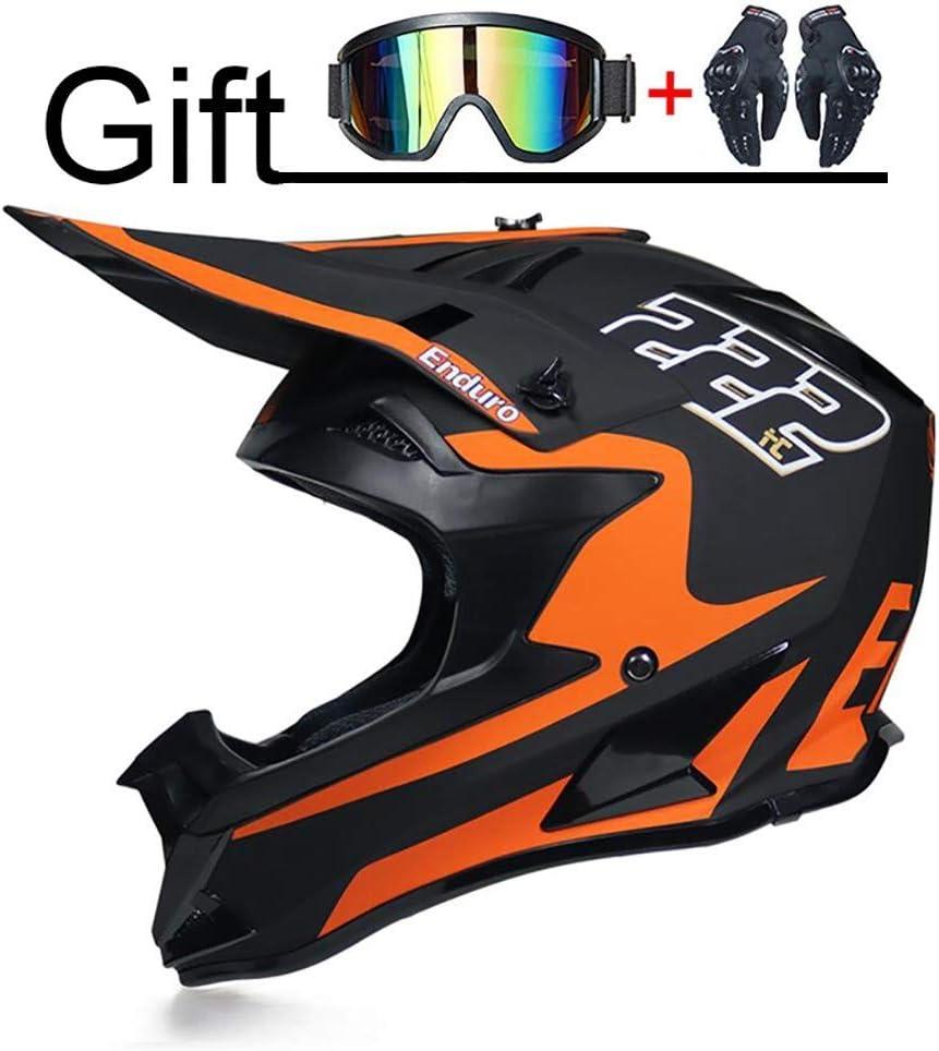 Fhgh Fullface Helm Full Face Motorrad Helm Motocross Helm Dot Sicherheitszertifikat Herren Rallye Helm Mountainbike Bergab Vollhelm Schutzbrille Orange Senden Küche Haushalt