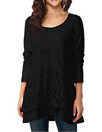 9901538d0114f7 Lace Tops Women Long Sleeve Scoop Neck A-Line Tunic Elegant Blouse Black