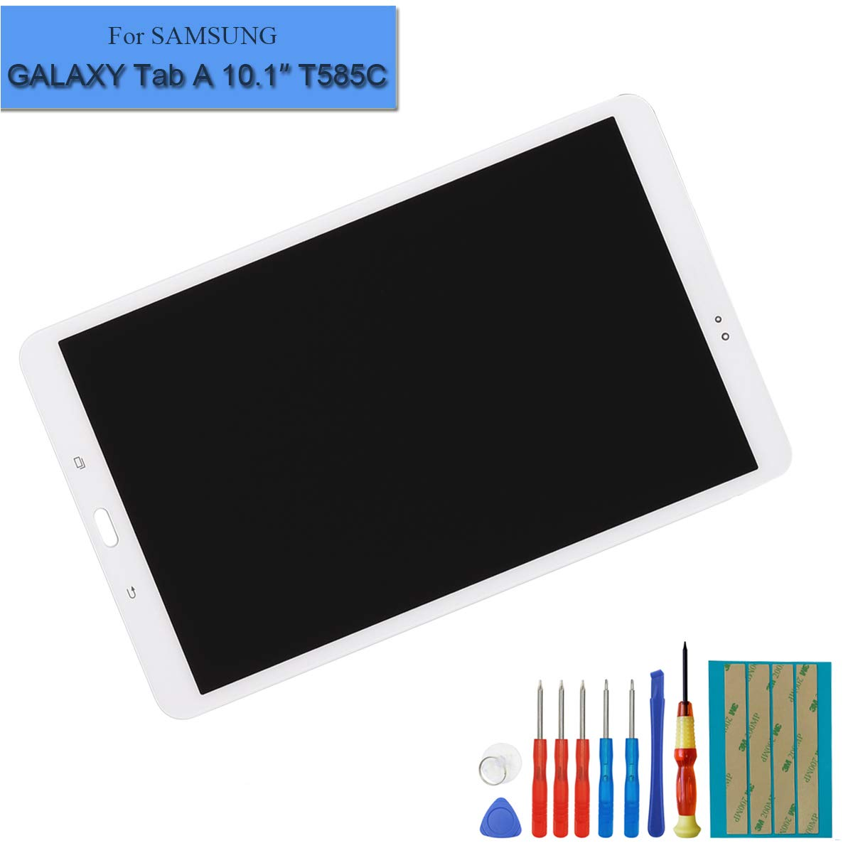 LCD Display Assembly Compatible with Samsung Galaxy Tab A 10.1 2016 SM-T580 T585 T587 Touch Screen Digitizer(White) + Tools