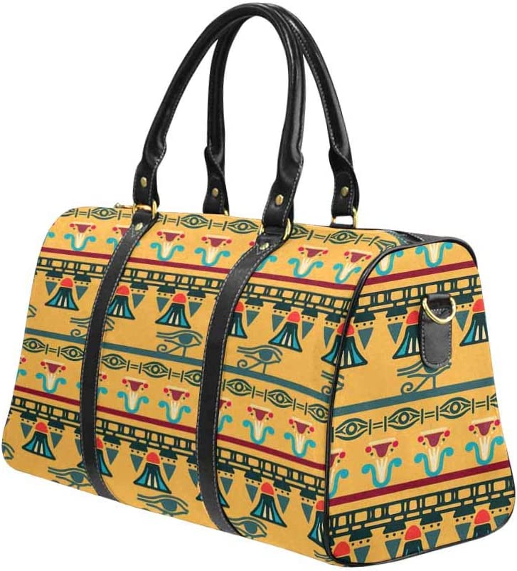 InterestPrint Unisex Duffel Bag Carry-on Bag Overnight Bag Weekender Bag Tribal Art Egyptian Vintage Ethnic