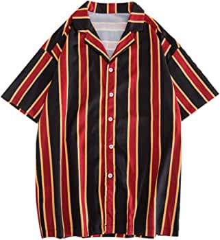 Innerternet-Camisa de Hombre, 405 Camisa de Manga Corta de Solapa de Manga Corta con Estampado de Rayas de Color Suelta de Verano para Hombre(marrón/Verde/Rojo, M-XXL): Amazon.es: Ropa y accesorios
