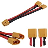 T-Trees 2 Pack of XT60 Parallel Battery Connector Cable Extension Y Splitter for DJI Phantom RC Mode Helicopter Quadcopter