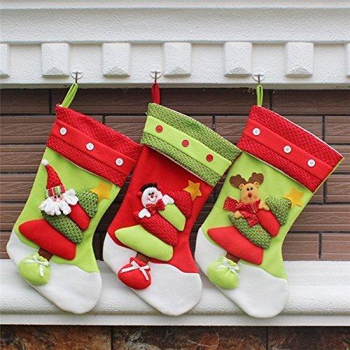 the love 3 Pcs Set Classic Christmas Stockings Santa Claus Snowmen Elk Christmas decorations (C) by the love (Image #3)