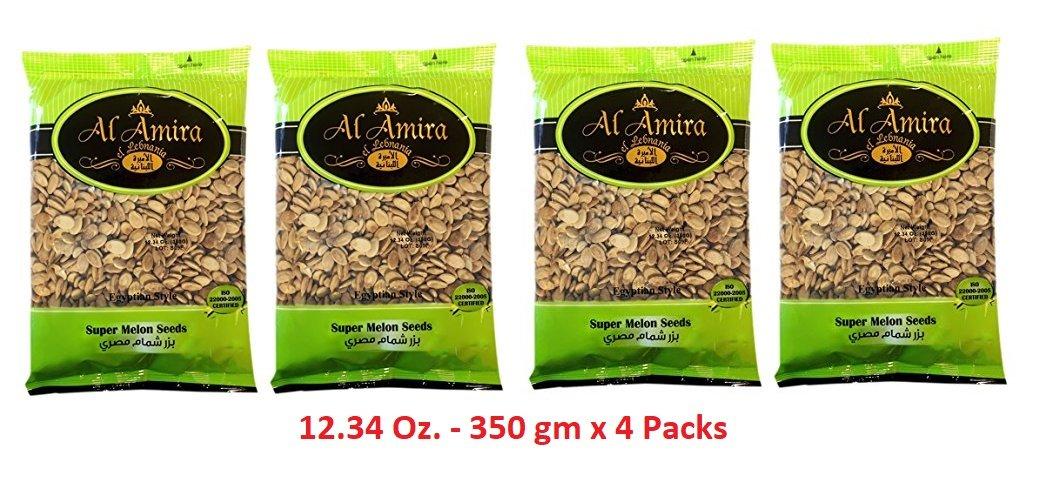 Egyption Melon Roasted and Salted Seeds 12.34 Oz. 350 gm Net weight - 4 Packs - By: Al Amira El Lebnania بزر مصري شمام سوبر من الأميرة اللبنانية
