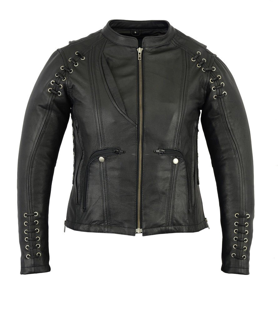Daniel Smart Women's Stylish Jacket with Grommet and Lacing Accents (S Regular)