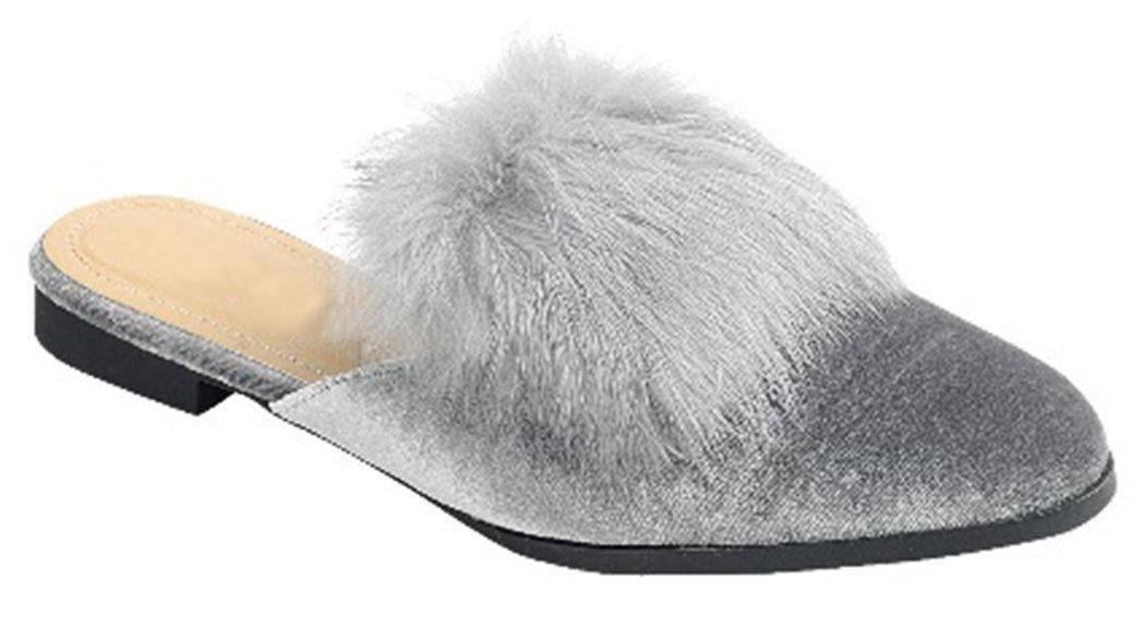 Best Velvet Gray Mule Fur Pom Pointy Shoe Fuzzy Flat Heel Closed Toe Slipon Cool Stylish Modern House Indoor Beach Summer Heeled Party Work Dress Slipper for Women Teen Girl (Size 6.5, Grey)