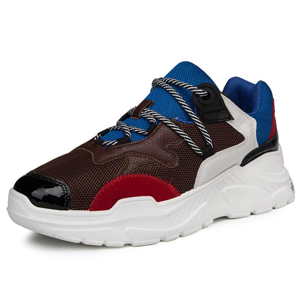 YAN Männer Mesh-Schuhe 2018 Niedrig-Top-Turnschuhe Lace up Walking Schuhe Trail Running Schuh Leichte Sportschuhe weiß, braun, schwarz (Farbe : C, Größe : 43)