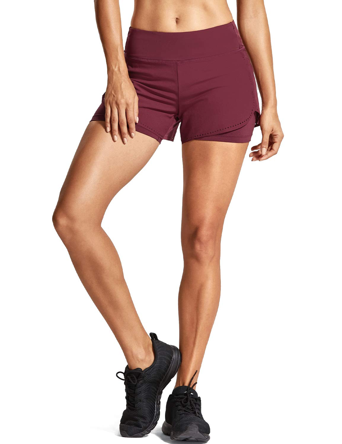CRZ YOGA Women's Running Workout Shorts with Liner 2 in 1 Athletic Sport Shorts with Zip Pocket-4 inch Dark Red_r311_New S(4/6)