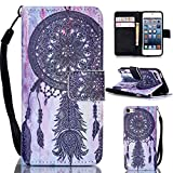 iPod Touch 5 case,iPod Touch 6 case,Gift_Source [Black Dream Catcher] Magnetic Snap Case Premium Wallet Case Flip Case Cover [Money Card Slot] for Apple iPod Touch 5 Touch 6 with Hand Strap