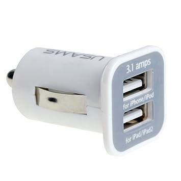 AFISC - Blanco Cargador para Auto Adaptador 12V Doble USB 5V ...