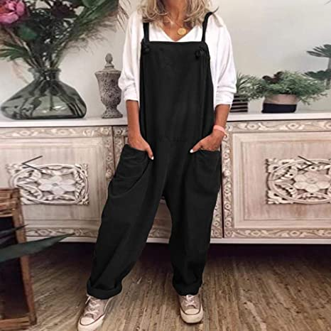 UK Casual Women Loose Harem Baggy Jumpsuit Dungarees Playsuit Trousers Overalls